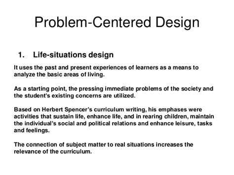 design situation meaning curriculum design and models