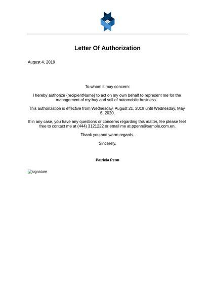 letter authorization templates jotform