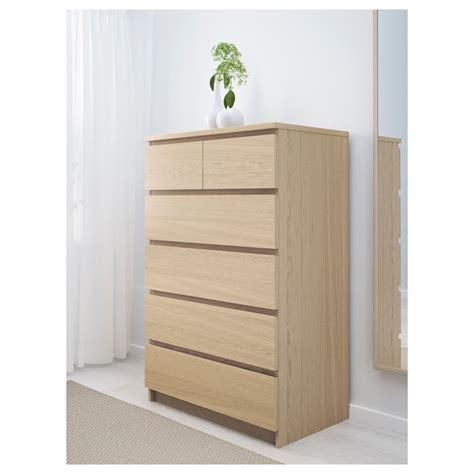 Oak Veneer Chest Of Drawers by Malm Chest Of 6 Drawers White Stained Oak Veneer 80x123 Cm