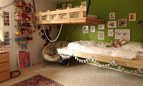 ana white floating bunk beds and desk diy projects hanging beds for our 3 and 5 year olds ana white