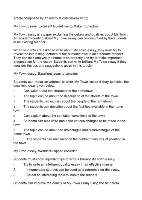 My Hometown Essay by Essay For My Hometown Elementry School Cover Letter Performance Architect Sle Resume