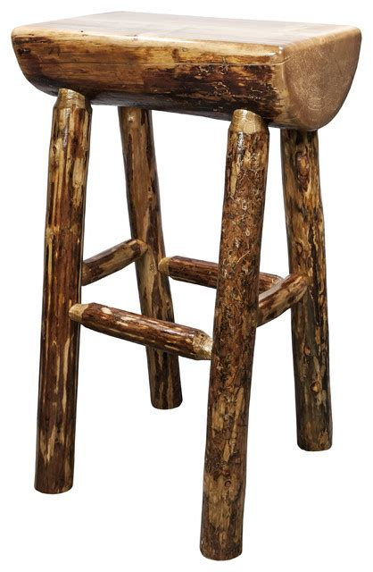 Rustic Log Bar Stools by Montana Woodworks Glacier Country Half Log Barstool
