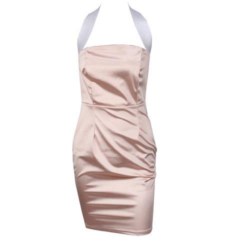 Pink Halter Satin Dress outletpad pink sparkly satin halter dress