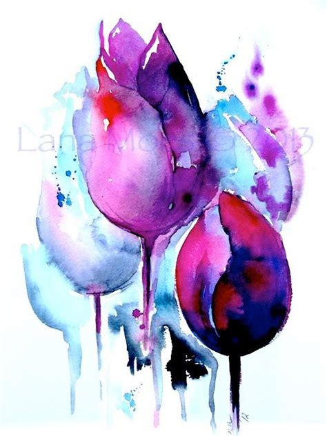 watercolor tulip tattoos print from original watercolor abstract tulips floral