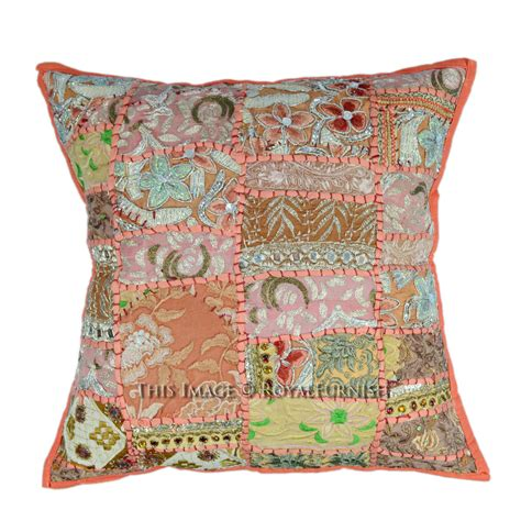 Patchwork Pillow - multicolor needlepoint patchwork embroidered toss pillow