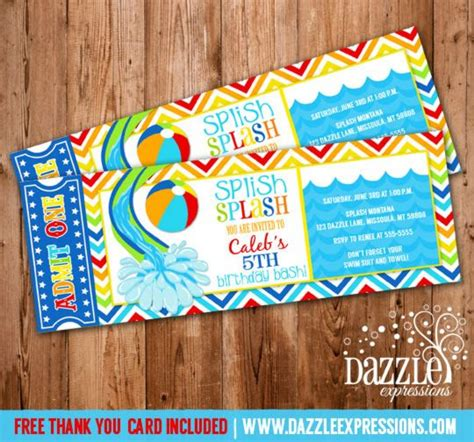 free printable thank you cards swimming pool party ticket birthday invitation free thank you