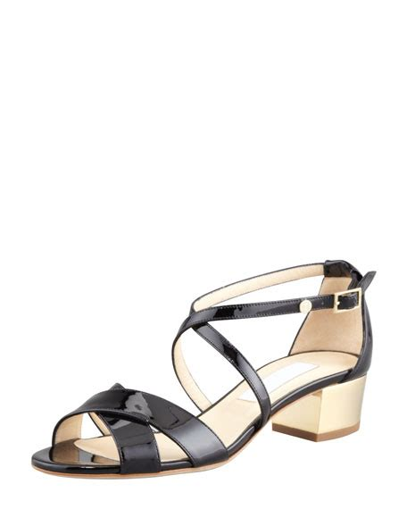 Buckled Patent Low Heel Shoes jimmy choo merit patent leather low heel sandal black