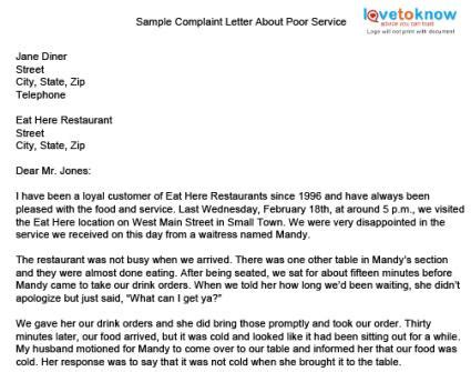 Complaint Letter To Airline About Food sle complaint letter damaged goods cover templates