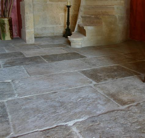 Limestone Floor by Reclaimed Grey Barr Oak Flooring
