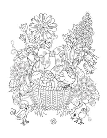 coloring book for adults gift basket printable coloring page easter basket paradise
