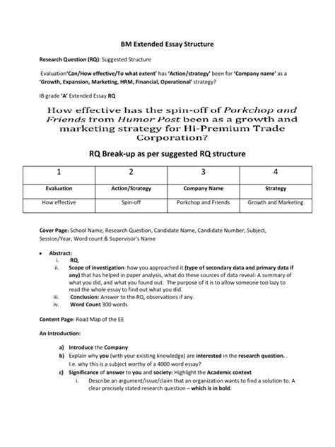 structure extended essay bm extended essay structure