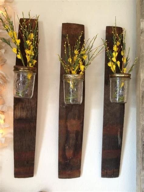 home wall decor set of 4 upcycled bottles home 17 best images about wood stave projects on pinterest