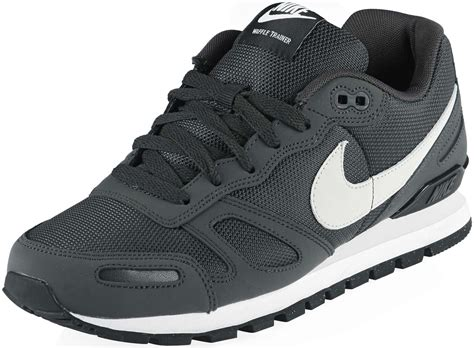 nike air waffle trainer shoes grey black