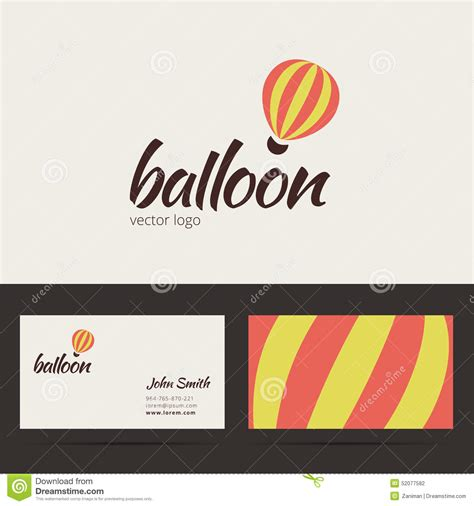 free air business card template air balloon logo template with business card stock vector