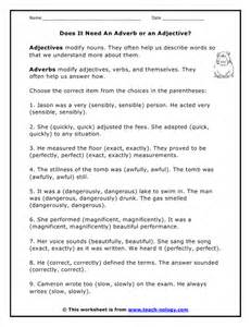 Adjective or adverb worksheet on adverbs worksheet printable