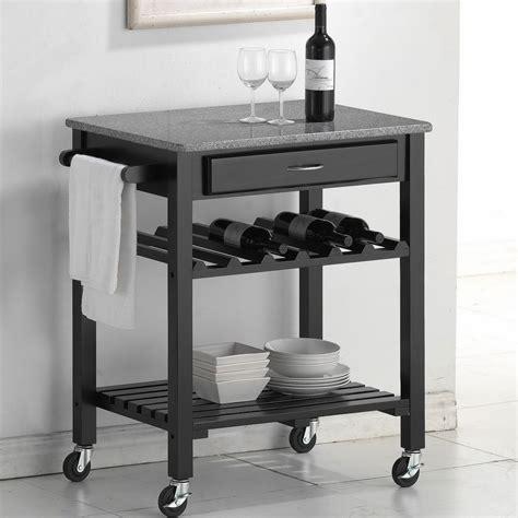 cheap kitchen islands and carts baxton studio black kitchen cart with granite top