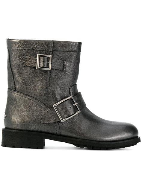 grey biker boots ladies lyst jimmy choo youth biker boots in gray