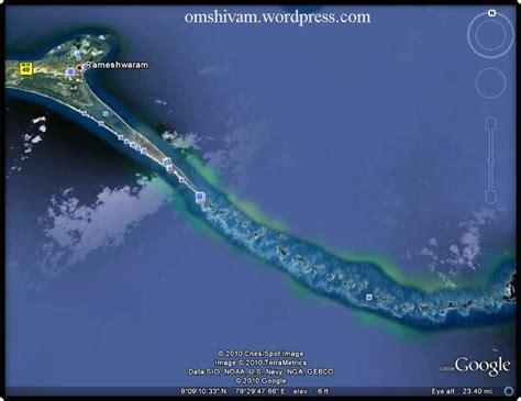 satellite image of ram setu ram setu bridge