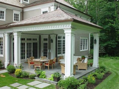 wrap around porch steps to door covered deck and open traditional porch found on zillow digs home pinterest