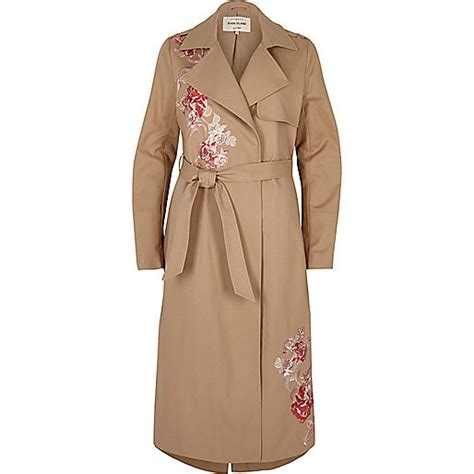 Embroidered Trench Coat brown floral embroidered trench coat coats jackets