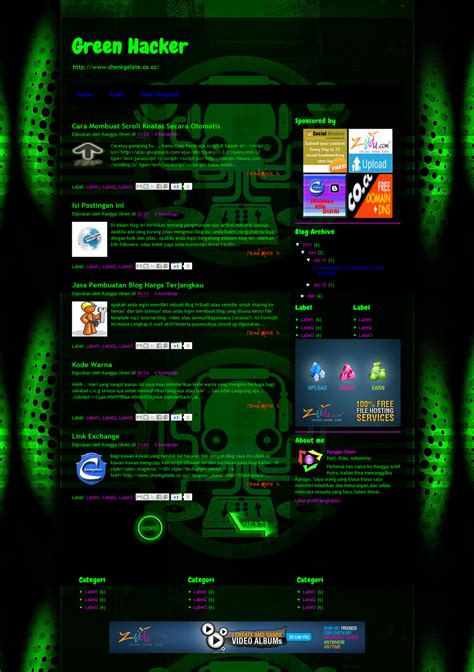 hacking templates for blogger template green hacker blogger cybercrew newbie