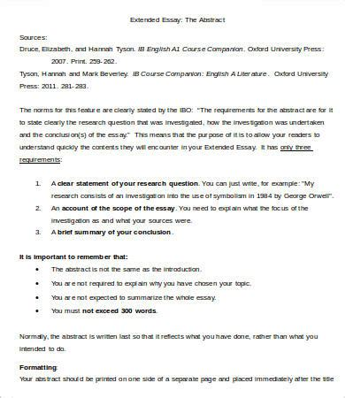 Extended Essay Abstract Exles Ib by Extended Essay Template 7 Free Sles Exles Format Free Premium Templates