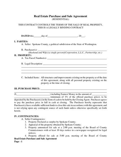 Best Real Estate Purchase And Sale Contract Agreement Template With Blank Date And Parties And Real Estate Purchase Contract Template