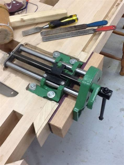 work bench build  carpenters vise install woodworkingweb