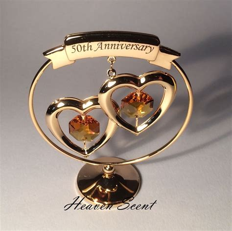 50th wedding anniversary gift ideas 50th golden wedding anniversary gift ideas gold plated swarovski crystals sp250 ebay