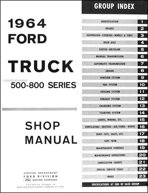 manual repair free 1987 ford f series instrument cluster 1964 ford 500 800 medium truck repair shop manual original