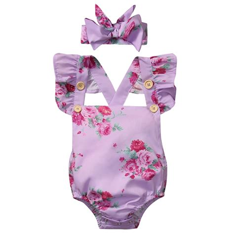 Dress Baby Anak 0 24 Bln 2 pudcoco 0 24m newborn infant baby clothing floral flying sleeve jumpsuit purple romper