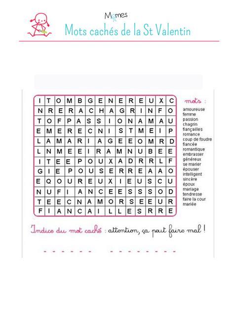 jeux de cuisine fran軋is mots cach 233 s st valentin momes