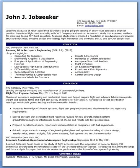 Resume Exles Entry Level Engineering Entry Level Aerospace Engineer Resume Sle Resume