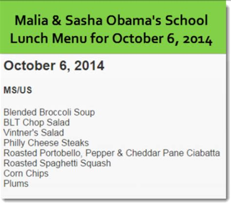michelle obama lunch menu michelle obama mandated school lunch goes from bad to