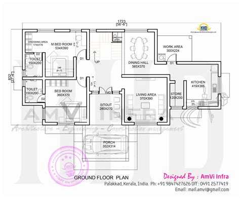 ground floor and first floor plan house made of laterite stone kerala home design and