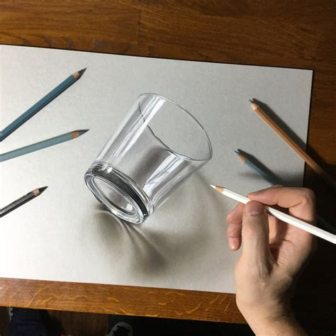 draw 3d 3d drawing of a simple glass by marcellobarenghi on deviantart
