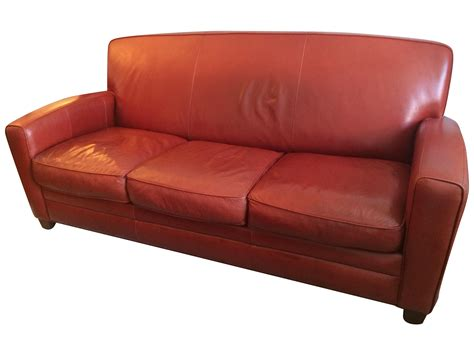 thomasville leather sofa thomasville contemporary red leather sofa chairish