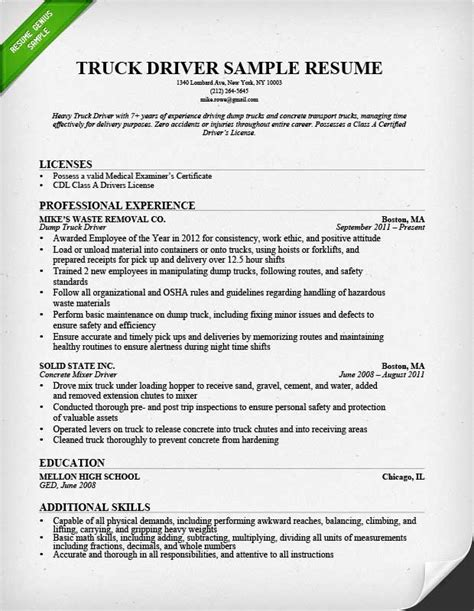 resume template for driver position truck driver resume sle and tips resume genius