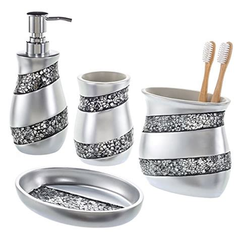 silver mosaic bathroom accessories crackled glass toothbrush holder