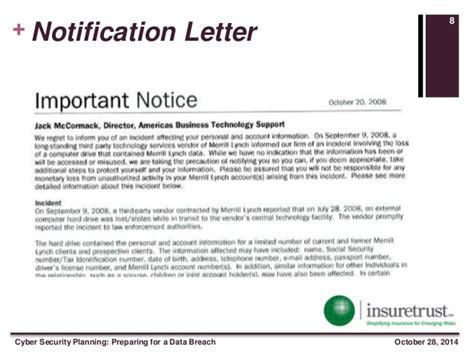 Complaint Letter Breach Confidentiality Cyber Security Planning Preparing For A Data Breach
