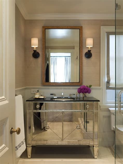 mirrored vanity bathroom mirrored bathroom vanity contemporary bathroom