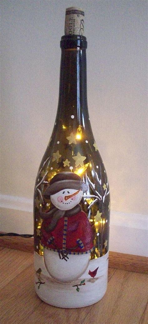hand painted lighted snowman wine bottle diy pinterest