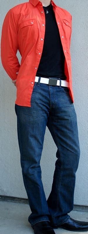 orange shirt black t shirt black dress shoes white leather
