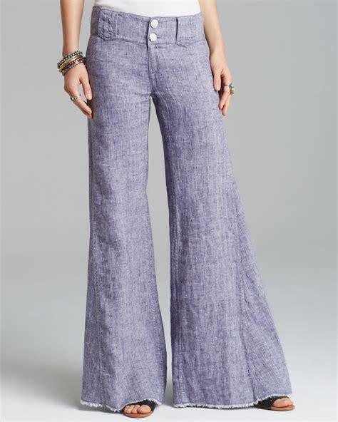 people pants linen wide leg  indigo blue lyst