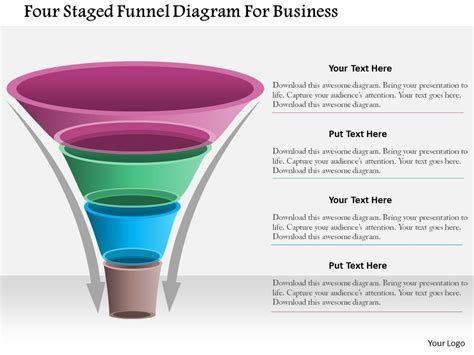 1214 Four Staged Funnel Diagram For Business Powerpoint Template Powerpoint Slide Presentation Free Marketing Funnel Template