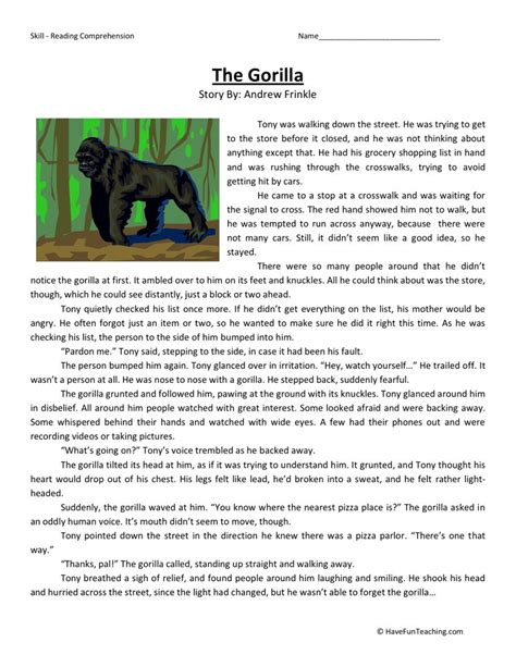 Free Printable 5th Grade Reading Comprehension Worksheets by Reading Comprehension Worksheet The Gorilla
