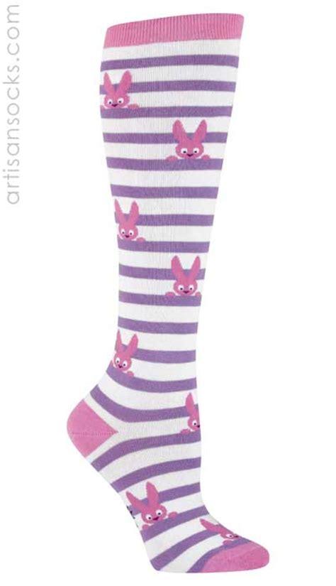 sock bunny stripe sock it to me pink bunny striped knee hi socks