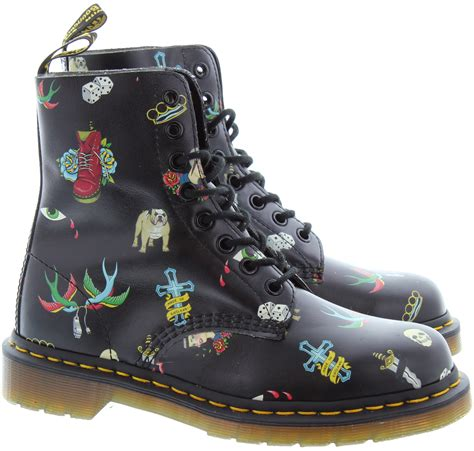 tattoo pattern doc martens dr martens pascal tattoo boots in black in black