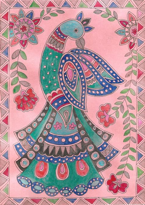 Handmade Painting - madhubani indian mithila handmade peacock miniature