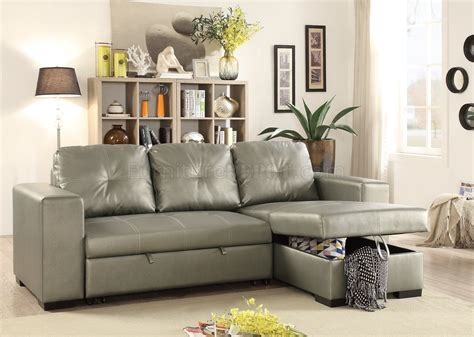 Faux Leather Sectional Sofa by F6919 Convertible Sectional Sofa Silver Faux Leather By